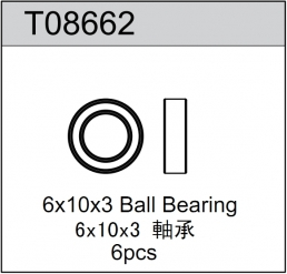 TeamC 6x10x3mm Rubber Sealed Ball Bearing (6)