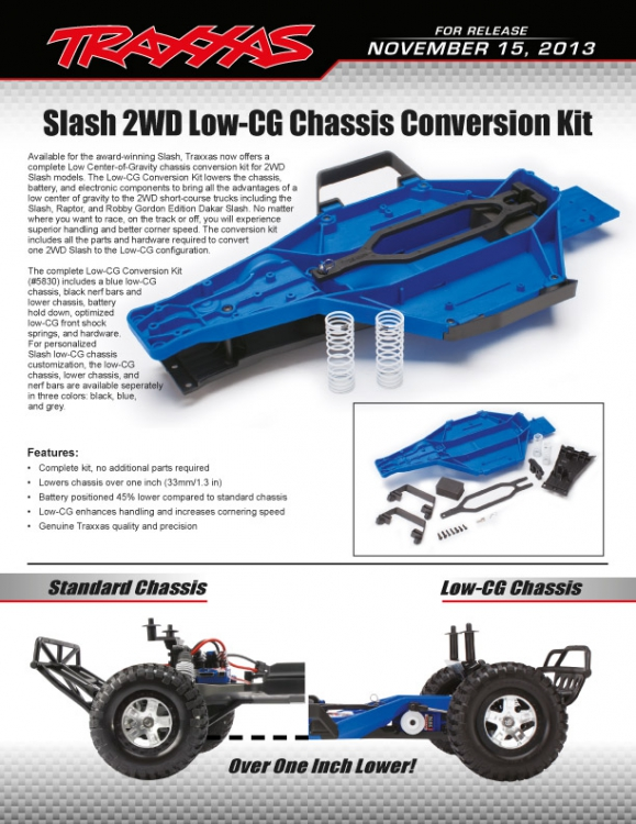 Traxxas Slash 2WD LCG (Low Center of Gravity) Conversion Kit