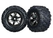 Traxxas Tires & wheels (X-Maxx black chr wheels/ Maxx AT tires) (2)
