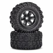 Traxxas Tires & wheels (X-Maxx black wheels/ Maxx AT tires) (2)