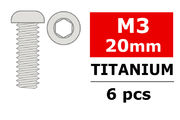 Team Corally Titanium Screws M3 x 20mm Hex Button Head (6)