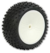 Schumacher Pre-Glued Hex Mini Spike 2 - Rear Tyres - Yellow (2)