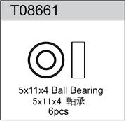 TeamC 5x11x4mm Rubber Sealed Ball Bearing (6)