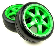 Traxxas 1/16 Rally Tyres on Volk TE37 Green Wheels (2)