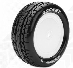 Louise 1:10 Pre Mounted E-Rocket 4WD Front Tire With 12mm White Rim - Soft (2)