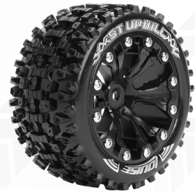 Louise 1:10 ST-Upphill 2.8 inch Truck Tire Mounted on Black Rim - 1:2 Offset - Soft (2)