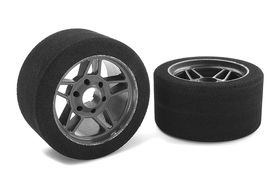 Team Corally Attack foam tires 1/8 Circuit 32 shore Front Carbon rims (2)