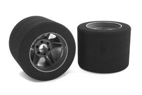 Team Corally Attack foam tires 1/8 Circuit 37 shore Rear Carbon rims (2)