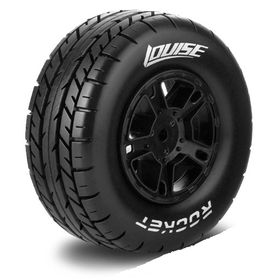 Louise SC - Rocket SC Tyre With Black Rim For Traxxas Rear (Mounted) - Soft - (2)