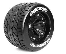 Louise 1:8 3.8 Inch Monster Tire MT-Rocket Mounted On Black Wheel - 1:2 Offset - Sport (2)