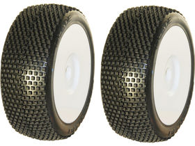 Medial Pro - Racing Tires mounted on White Rims for 1/8 Buggy - Blade M2 Medium (2)