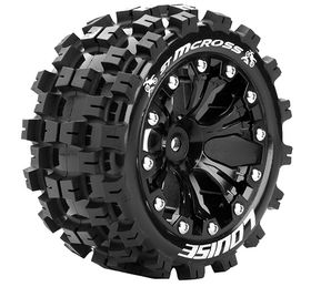 Louise RC - ST-MCross 1/10 Stadium Truck Tire - Mounted - Sport - Black 2.8 Wheels - Hex 12
