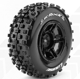 Louise SC - Rock SC Tyre With Black Rim For Losi Ten-SCTE (Mounted) - Soft (2)