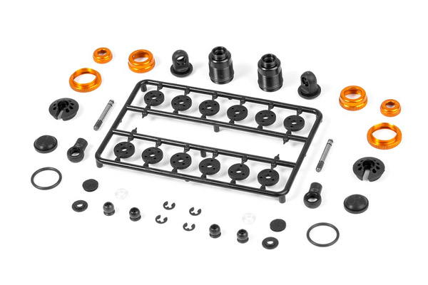 Xray T4 Aluminum Shock Absorber Set (Orange) (2)