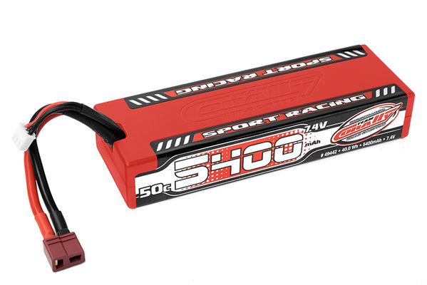 Team Corally Sport Racing 50C LiPo Battery 5400mAh 7.4V Stick 2S Hard Wire T-Plug