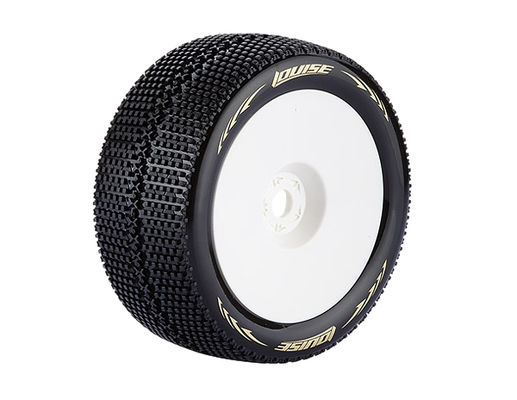Louise T-Turbo 1:8 Truggy Tires - 0 Offset White Rim - Soft (2)