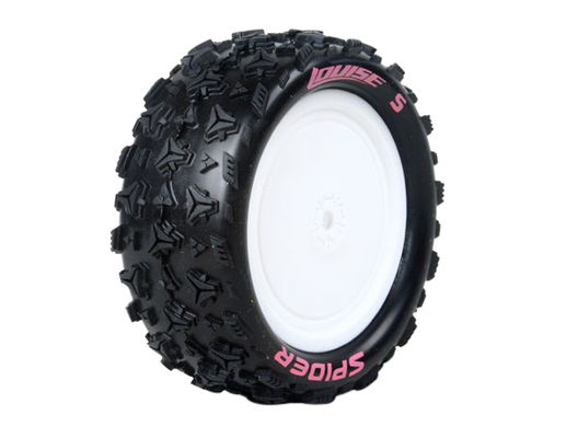 Louise 1:10 Pre Mounted E-Spider 4WD Front Tire With 12mm White Rim - Soft (2)