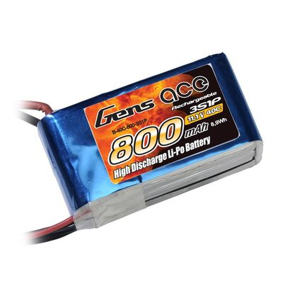 Gens Ace 800mAh 3s (11,1V) 40C Lipo Battery Pack