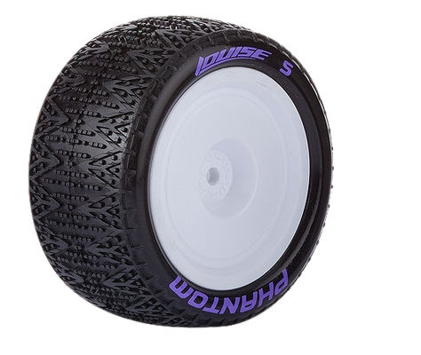 Louise E-Phantom Buggy 4WD Rear Tire With White Rim - SuperSoft - TeamC, Kyosho, Losi (2)