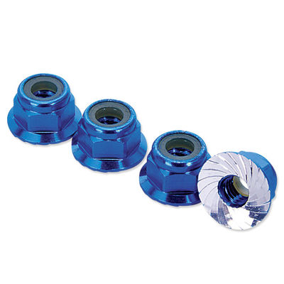 Hobbypro M4 Locknut With Flange - Blue (4)