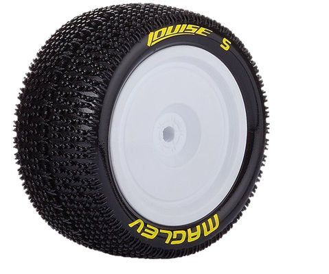 Louise E-Maglev 4WD Buggy Rear Tire With White Rim - SuperSoft - B44 / B4 (2)
