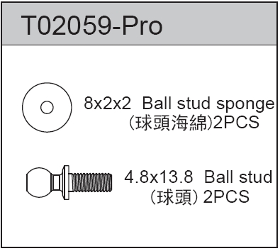 TeamC Ball Stud 4.8 X 13.80 (2)