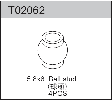 TeamC Shock Lower Ball Stud 5.8 X 6 (4)