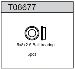 TeamC 5x8x2.5mm Rubber Sealed Ball Bearing (6)