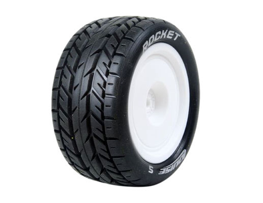 Louise 1:10 Pre Mounted E-Rocket 4WD Rear Tire With 12mm White Rim - Soft (2)