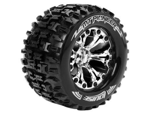 Louise 1:10 MT-Pioneer Monster 2.8 Inch Tire Mounted On Chrome Wheel - 0 Offset - Soft (2)