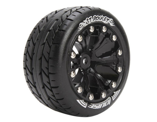 Louise 1:10 ST-Rocket 2.8 inch Truck Tire Mounted on Black Rim - 1:2 Offset - Soft (2)