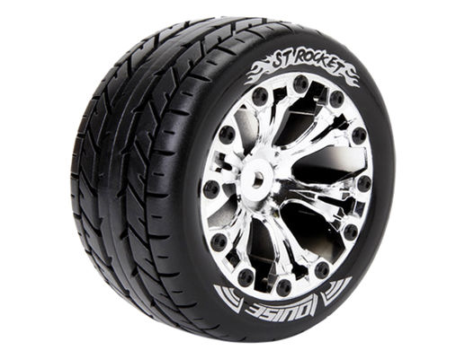 Louise 1:10 ST-Rocket 2.8 inch Truck Tire Mounted on Chrome Rim - 1:2 Offset - Soft (2)