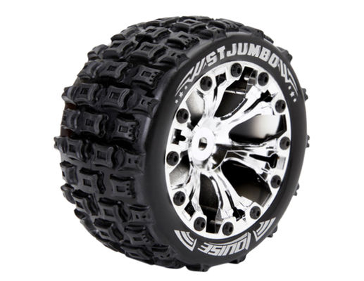 Louise 1:10 ST-Jumbo 2.8 inch Truck Tire Mounted on Chrome Rim - 0 Offset - Soft (2)