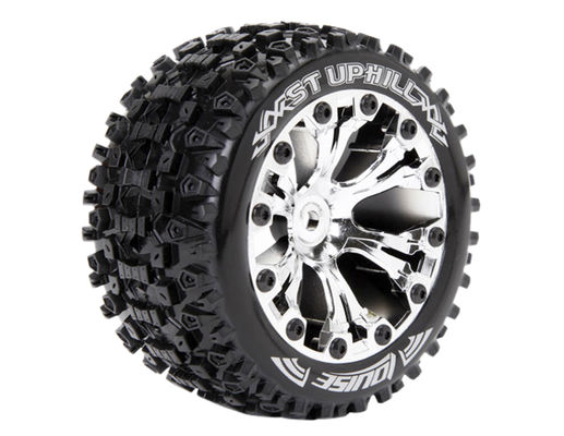 Louise 1:10 ST-Uphill 2.8 inch Truck Tire Mounted on Chrome Rim - 0 Offset - Soft (2)